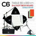 C6 โต๊ะถ่ายภาพสินค้าพับได้ 60x100 ซม. + SOFTBOX 6060