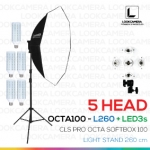 NEW 5 HEAD CLS OCTA100 SOFTBOX L260 ขนาด 100 ซม. ชุดไฟแปดเหลี่ยมถ่ายภาพสินค้ากำลังสูง (NEW 2017 MODEL)