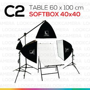 C2 โต๊ะถ่ายภาพสินค้าพับได้ 60x100 ซม. + SOFTBOX 4040