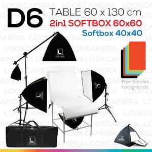 D6 โต๊ะถ่ายภาพสินค้าแบบปรับองศาได้ 60x130 + SOFTBOX 6060