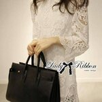 Lady Ribbon's Made Lady Hannah Pretty Classic Turtleneck White Lace Dress