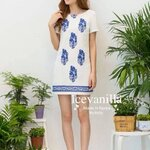 Retro blue embroidery Dress