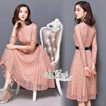 Lady elegant pink lace dress + belt by Aris Code