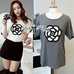 lady Ribbon's MadeLady Geraldine Graphic Camelia Trim T-Shirt in White and Grey