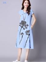 DRESSกระโปรงผ้าฝ้ายสีฟ้า คอวี แขนสั้น เย็บกระดุมติดแนวเฉียงสไตล์จีนๆ พิมลายดอกบัว ดีไซน์น่ารักมากๆ ผ้าเนื้อดีไม่บาง ไม่ร้อนค่ะ