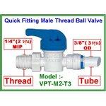 "Ball valve plastic union male thread 1/4"" MIP & tube 3/8"" OD"