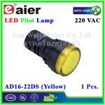 หลอดไฟ Pilot Indicator Lamp LED 220VAC เหลือง