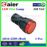 หลอดไฟ Pilot Indicator Lamp LED 220VAC แดง