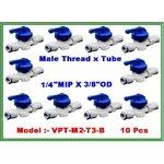 "Ball valve plastic union male thread 1/4"" MIP & tube 3/8"" OD แพ๊ค 10 ชิ้น"