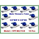 "Ball valve plastic union male thread 3/8"" MIP & tube 3/8"" OD แพ๊ค 10 ชิ้น"