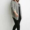 size48-54 แบรนด์ FOREVER21+ เสื้อคลุมคนอ้วน ผ้ายืดเนื้อแน่น แขนยาวกันแดดได้ดี ลายขวางสีเทา