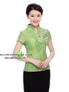 เสื้อพนักงานต้อนรับสไตล์จีนสีเขียว/ชมพู/ขาว/ฟ้าน้ำทะเล