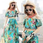 Lady Ribbon's Made Lady Katie Summer Tropical Bright Printed Off-Shoulder Top and Maxi Skirt Set