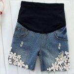 กางเกงยีนส์ยืดขาสั้น ปักรูปดอกไม้สีขาวที่ชายขา size M, L, XL, XXL