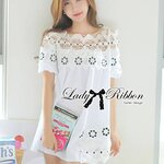 Lady Ribbon's Made Lady Annie Pretty Sweet Insert Guipure Lace Cotton Blouse