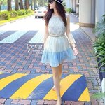 Sweet pastel stitching lace Dress with belt Style korea