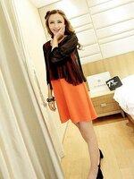 แซกกระโปรง สีส้ม ด้านในเป็นผ้ายืดด้านนอกเป็นซีฟอง เก๋ๆ สไตย์เกาหลีค่ะ