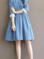 Dressกระโปรงผ้าฝ้ายสีฟ้า ลายจุดสีขาว แขนยาว พร้อมเชือกผูกเอว1เส้น รูปทรงน่ารักน่าใส่มากๆคะ