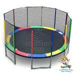 แทรมโพลีน 16 ฟุต สีรุ้ง สปริงบอร์ด trampoline ขนาดใหญ่สุด รับน้ำหนักได้ 180 kg เหมาะสำหรับออกงาน
