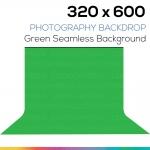 Green 320 x 600 Photography Backdrop ผ้าฉากหลังสีเขียว ตัดต่อ ถ่ายวีดีโอได้