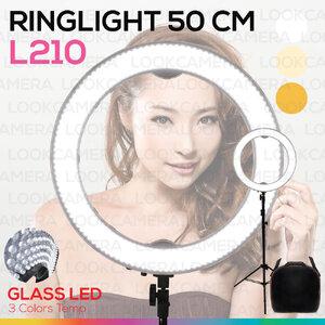 Ring Light LED 50 cm L210 (600 ดวง) ไฟวงแหวนพร้อมขาตั้งไฟ ถ่ายแฟชั่น ถ่ายเซลฟี่ ถ่าย live ถ่ายแบบเพิ่มความสวยงาม ไฟต่อเนื่อง ถ่ายรูป ไฟแต่งหน้า